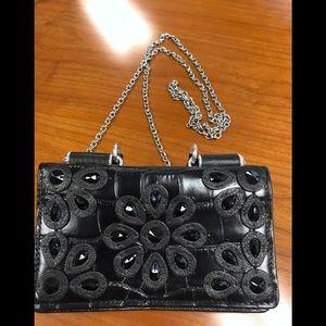 Brighton Small Black Croc Handbag